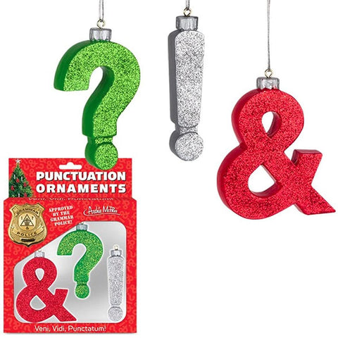 Punctuation Holiday Hanging Ornaments |  Ampersand, Question Mark and Exclamation Point