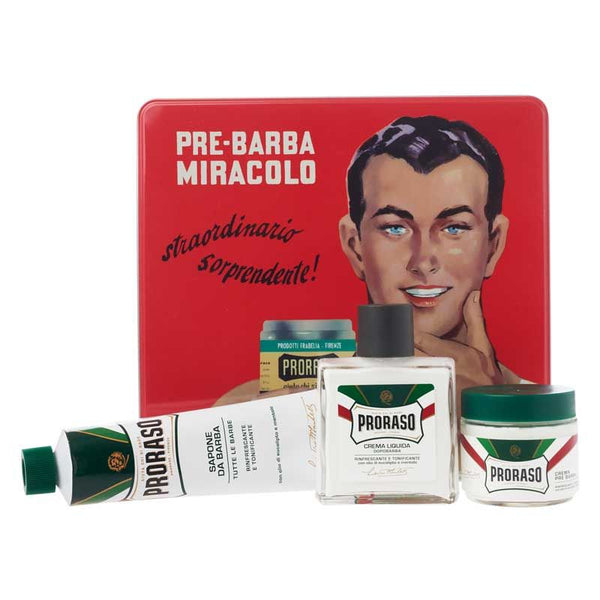 Proraso Shaving Essentials Gift Set in Classic Vintage Tin Can