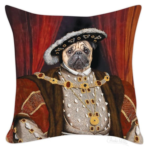 "Henry the Pug Funny Square Throw Pillow Cover | 18"" x 18"""