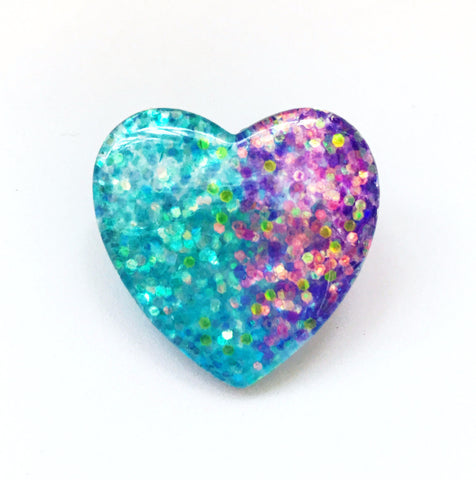 Mermaid Glitter Heart Pin Back Button in Blue and Purple