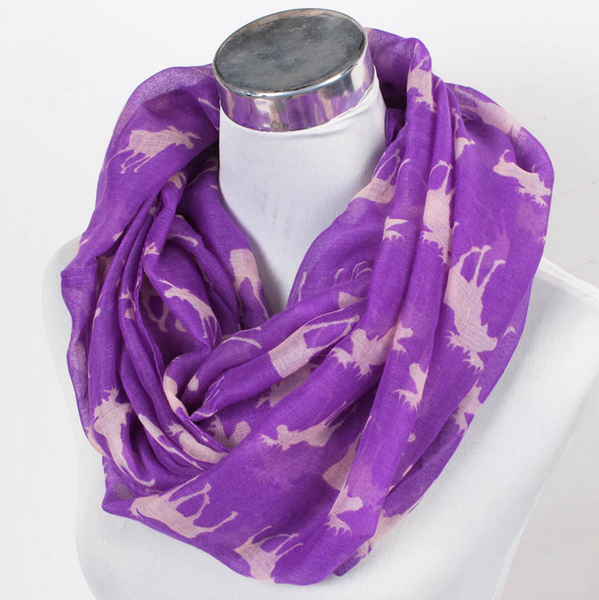 Maine Moose Infinity Scarf in Purple or Gray