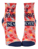 I'll Behave Never Women's Ankle Socks, Hipster/Nerdy/Geeky/Trendy, Colorful Funny Novelty Socks with Cool Design, Bold/Crazy/Unique Half Dress Socks