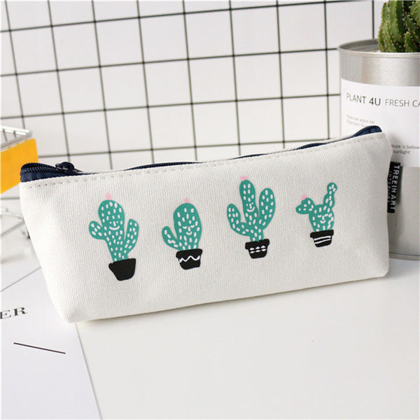 Stay Away From Me Prickly Cactus Zipper Pouches in White and Green