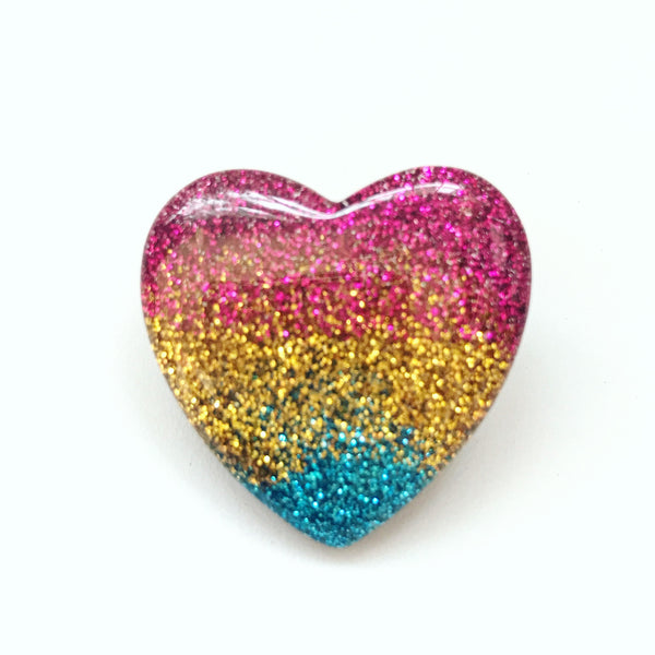Rainbow Glitter Heart Pin Back  Button