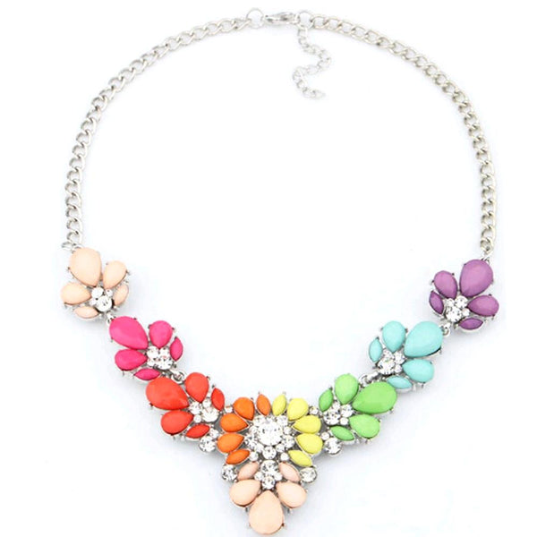 Rainbow Statement Necklace in Colorful Baubles and Rhinestones