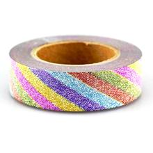 Rainbow Stripe Glitter Washi Tape