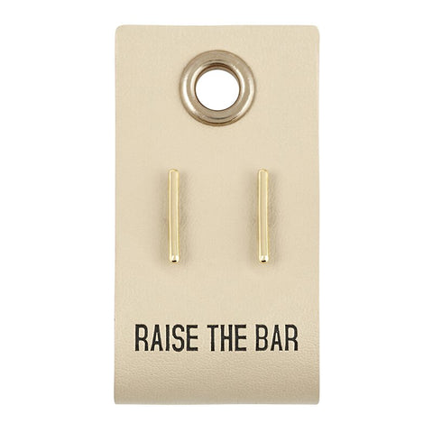 Raise The Bar Leather Tag Gold Earrings | Minimalist Stud Earrings Cutely Packaged for Gifting