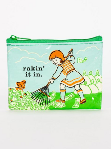 Rakin' It In Recycled Material Cool Small/Mini Zip Coin/Change Purse/Bag/Pouch/Wallet