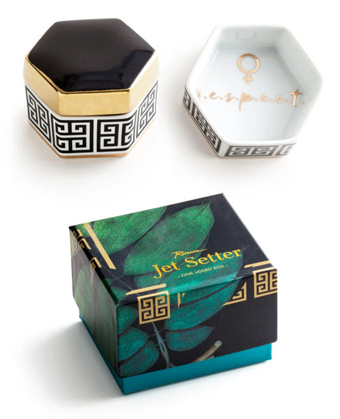 R.E.S.P.E.C.T Porcelain Hexagonal Trinket Box in Gift Packaging