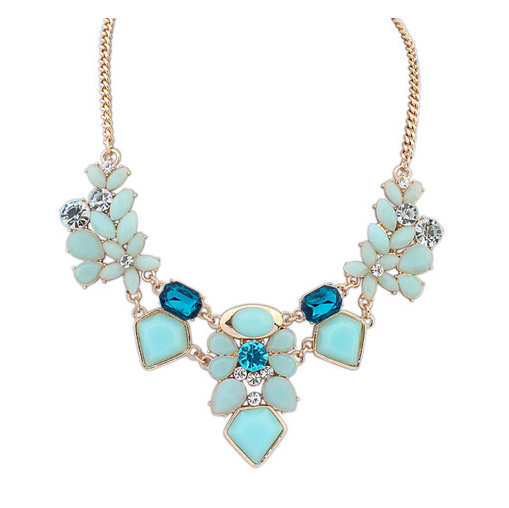 Robin Blue Statement Necklace in Teal, Aqua and Light Blue