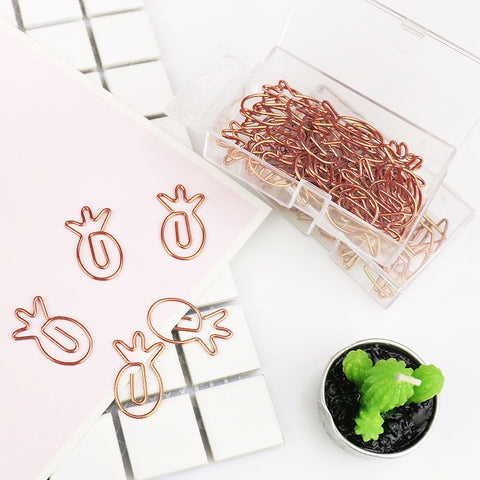 Rose Gold Graphic Paper Clips in Pineapple, Heart, Love Letter, or Martini