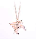 Gold Pegasus Geometric Pendant Necklace (Gold or Rose Gold)