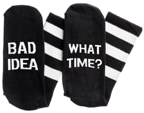 Bad Idea...What Time Socks in Black and White