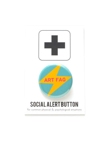 Art Fag Button in Blue and Yellow