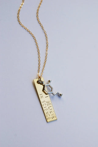 The Betty Collection: I Believe in Science Molecule Necklace in Silver or Brass