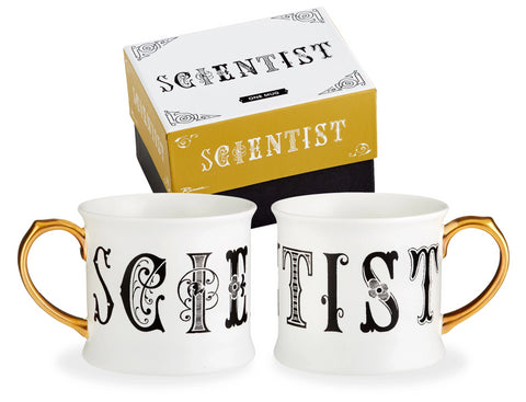 Scientist Lithographie Mug in Porcelain with Gilded Handle