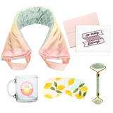Selfie Care Gift Kit: Neck Wrap, Eye Mask, Face Roller, and Mug Set in Gift Box in Daybreak - SHIPS FREE IN THE US