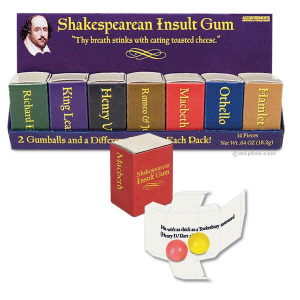 Shakespearean Insult Gum | Slay Them With Tasty Gum and Shakespeare's Rapier Wit | In Gift Packaging