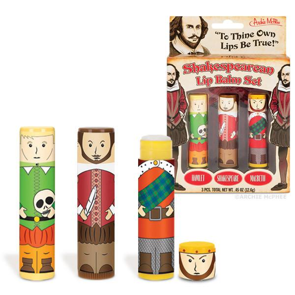 Shakespearean Lip Balm Gift Set in Shakespeare (Mint), Hamlet (Apple) and Macbeth (Orange)