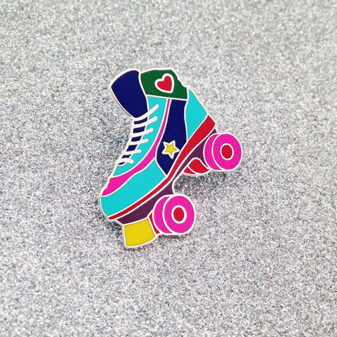 Multi Colored Roller Skates Enamel Pin