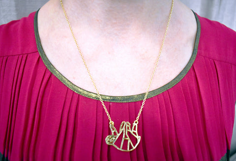 Shiny Lazy Sloth Necklace in Gold or Silver