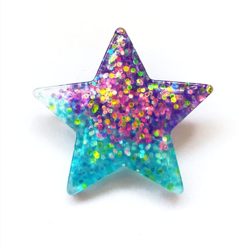 Mermaid Glitter Star Pin Back Button in Teal and Purple