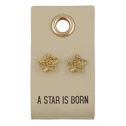 A Star Is Born Leather Tag Earrings | Textured Stud Earrings Cutely Packaged for Gifting