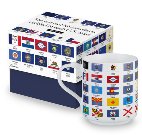 19th Amendment Women's Suffrage Flag Porcelain Coffee Mug, Unique/Fancy/Cute Tea Mug