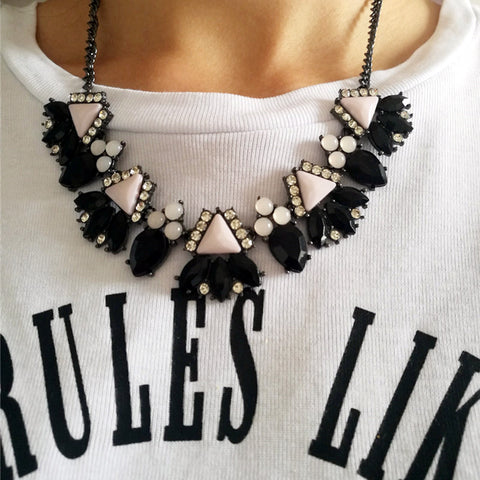 Black and Blush Geo Gem Statement Necklace