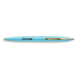 Stop Talking Pen in Aqua with Black Lettering and Gold Accents