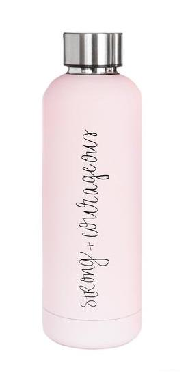 Strong And Courageous Stainless Steel Metal Water Bottle in Light Pink