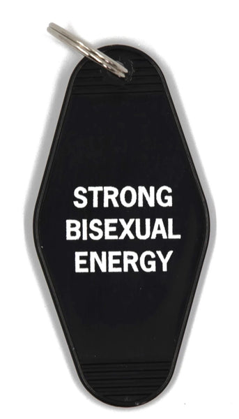 Strong Bisexual Energy Motel Style Keychain in Black