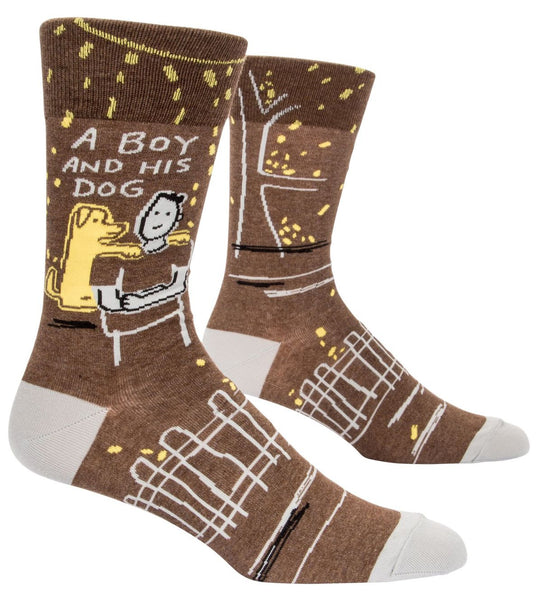 Last Call! A Boy And His Dog Men's Crew Socks, Hipster/Nerdy/Geeky/Trendy, Funny Novelty Socks with Cool Design, Bold/Crazy/Unique Specialty Dress Socks