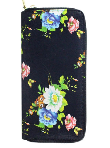 Sweet Black Floral Zipper Wallet