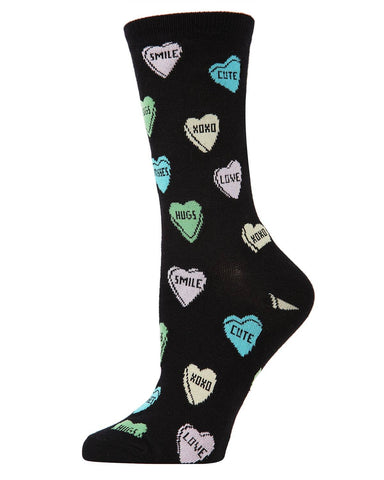 Candy Hearts Fun Crew Length Socks | XOXO, Cute, Smile, Hugs, Love | Soft Rayon-Bamboo Blend