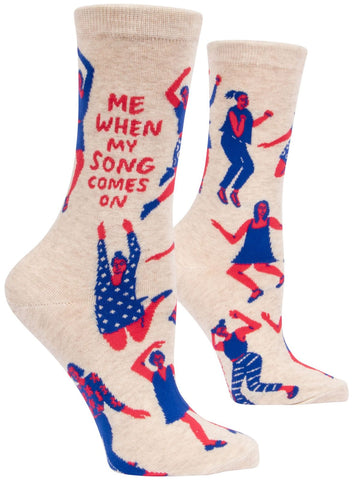 Me When My Song Comes On Women's Crew Socks, Hipster/Nerdy/Geeky/Trendy, Funny Novelty Power Socks with Cool Design, Bold/Crazy/Unique Dress Socks