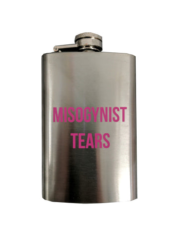 Misogynist Tears Skinny Flask in Silver with Pink Lettering