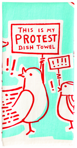 This is My Protest Screen-Printed Dish Towel Blue Snarky Dish Cloth Towel / Novelty Tea Towels / Cute Unique Kitchen Hand Towel