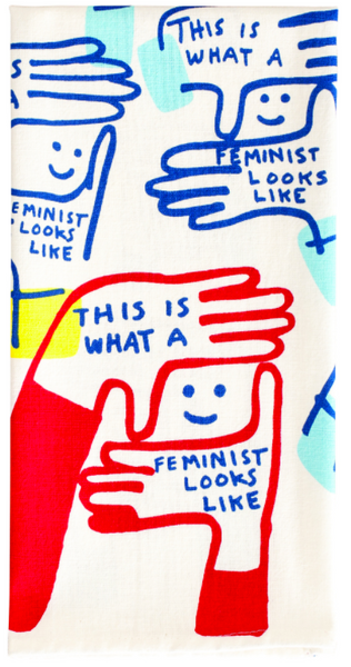 This Is What a Feminist Looks Like Screen-Printed Dish Towel Blue Multicolored Bright Snarky Dish Cloth Towel / Novelty Tea Towels / Cute Unique Kitchen Hand Towel