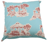 "Chic Toile 20"" Pillow Cover in Blue and Deep Red"