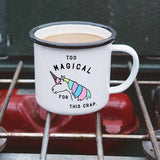 Too Magical for this Crap Enamel Camping Coffee Mug in Pastel Unicorn