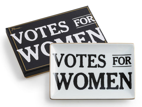 "Votes For Women Suffragette Porcelain and Gold Tray 4.25"" x 6.25"""