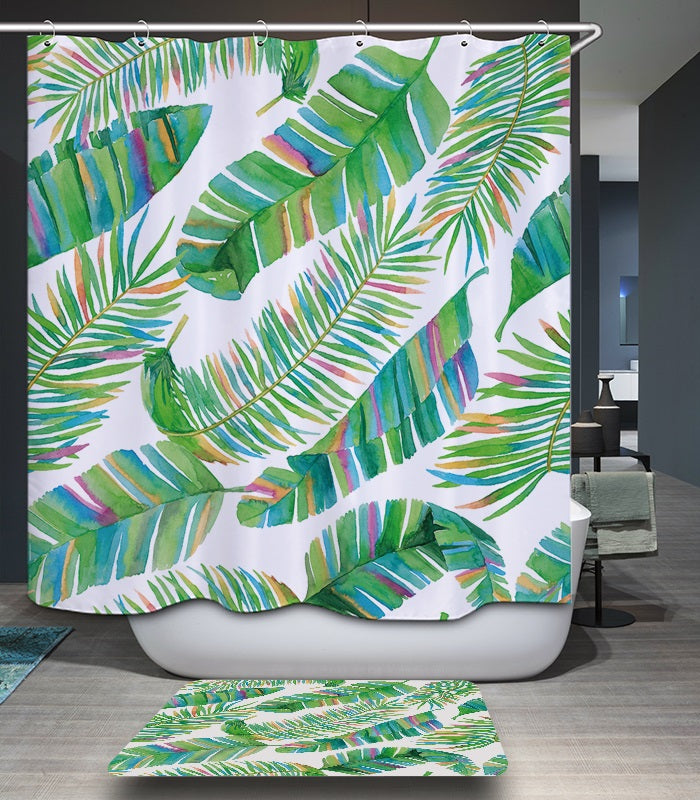 Green Tropical Leaves Fabric Shower Curtain – The Bullish Store