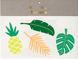 Tropical Leaves Temporary Tattoo in Green, Orange and Yellow