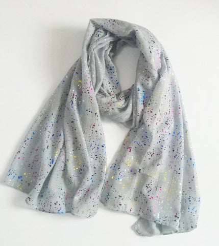 Gray Rainbow Foil Dot Scarf