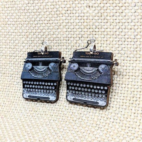 Typewriter Wooden Earrings