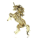 Violet Sparkle Unicorn Brooch in Rhinestones and Gold