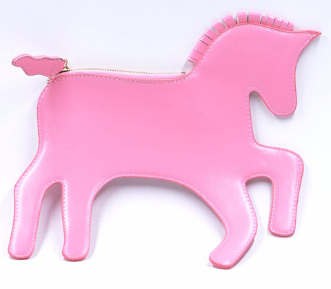 Pink Unicorn Clutch Purse with Gold Link Strap