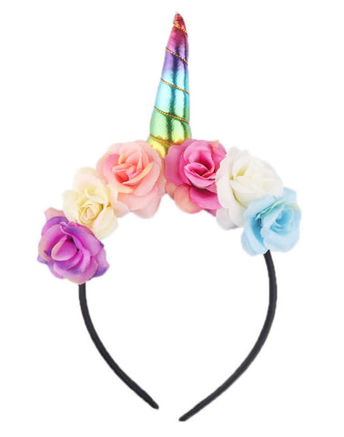 Unicorn Horn Headband Flower Crown in Metallic Colors