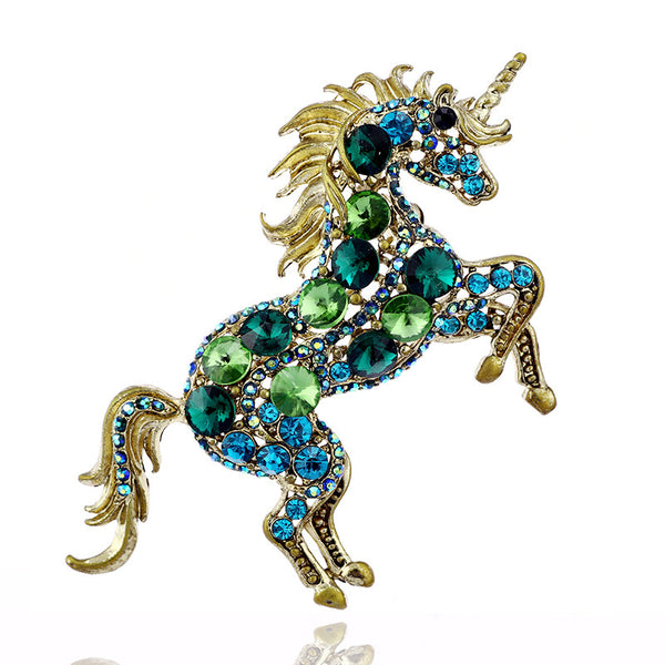 Bold Unicorn Brooch in Golden Shimmer or Silver Sparkle